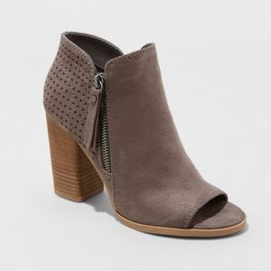 Women's Gray Ankle Open Toe Heeled Booties NWT